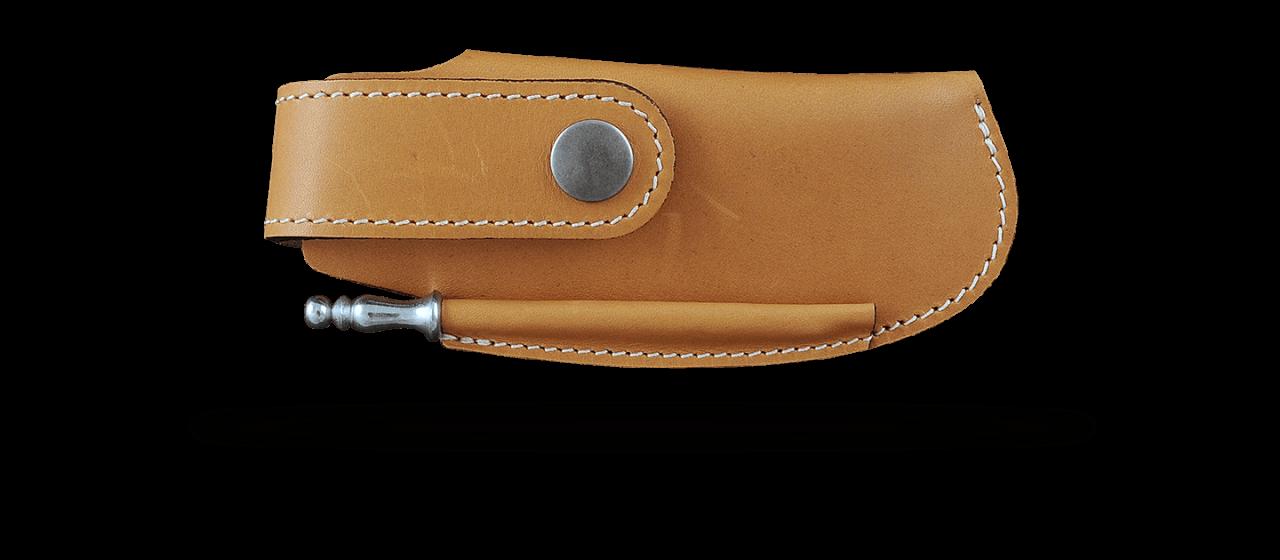 Belt leather sheath tawny & sharpener